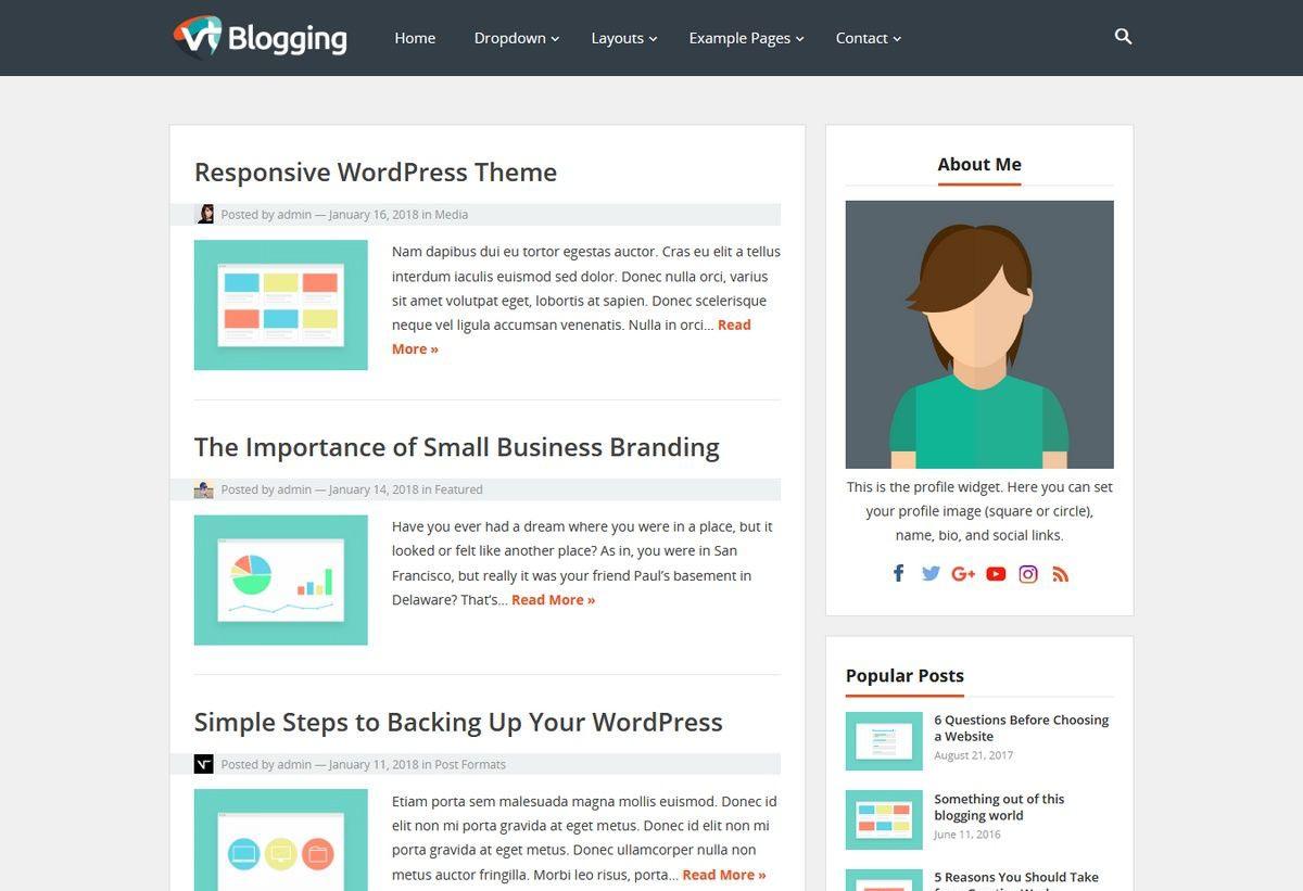 Wordpress经典简洁耐看VT Blogging主题免费分享下载